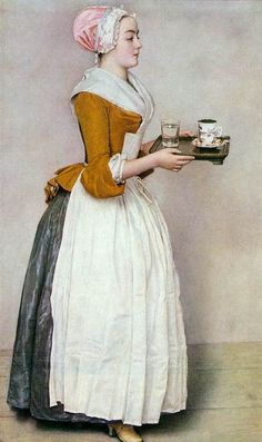 Jean-Étienne Liotard - The Chocolate Girl, Gemäldegalerie Alte Meister, Dresden . 18th Century Dress, 18th Century Costume, 18th Century Clothing, 18th Century Fashion, 19th Century, Historical Costume, Historical Clothing, Historical Fiction, Chocolate Girls