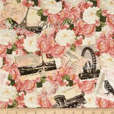 sewing fabric flowers Timeless Treasures - Bonjour Mon Amour- Postcards and Peonies Collage - Choose Your Cut or Full - Vintage Rosen, Timeless Treasures Fabric, Paris Love, Paris Pics, Picture Sharing, Textiles, Love Sewing, Graphic 45, Muted Colors