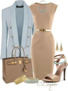 Fawn & Powder Blue Office Attire ▶suggested by ~Sophistic Flair~