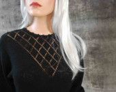 Vintage 80s Black Bat Wing Mini Skirt Sweater Dress, Knit, Pearl, Open Work Bodice, Beading AKA The Day At The Museum Dress (X-SMALL/SMALL)