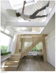 Hammock loft - great idea for my mezzanine library.
