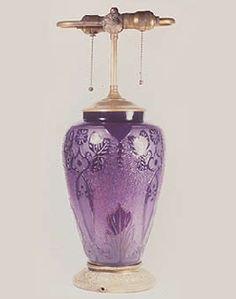 Plum Jade Lamp, Double Acid Etched, Steuben Glass Works, Corning, N.Y., 1920s,