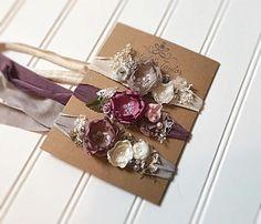 Floral Tiebacks Set of Three Headbands Baby Headbands