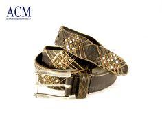 Cintura uomo in vera pelle vintage con borchie e tagli #vintage #man #leather #belt