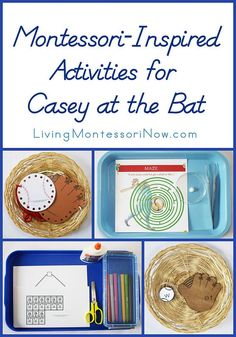 """Links to free baseball and poetry printables and Montessori-inspired activities for a study of """"Casey at the Bat"""""""