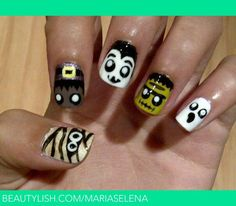Mummy, witch, Dracula, Frankenstein, and ghost nails | Selena B.'s (mariaselena) Photo | Beautylish