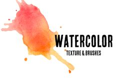 44 Watercolor Textures & 10 Brushes by desireelange on Creative Market