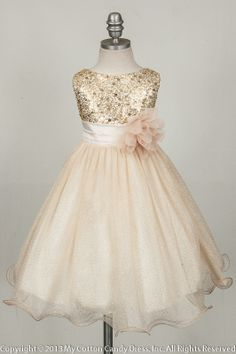Champagne Flower Girl Dress; certain aspects of this could be incorporated in to…
