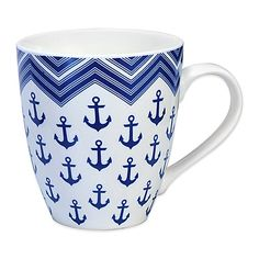 Whether you love nautical-themed décor, or miss being by the ocean, this Pfaltzgraff Anchor Mug will remind you of the sea every time you use it. Crafted from bone porcelain, the mug holds 18 oz., and is dishwasher and microwave safe. Nautical Theme Decor, Nautical Design, Nautical Anchor, Nautical Home, Coastal Homes, Coastal Decor, Lake Decor, Beach House Kitchens, Nautical Bathrooms