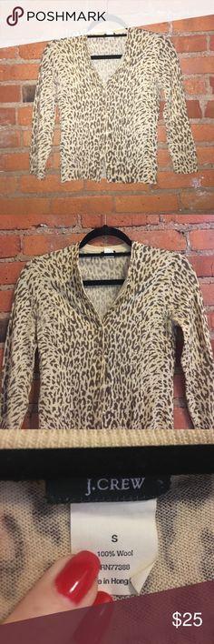 J.Crew leopard print cardigan size small Jcrew leopard print cardigan, size small. Great condition. J. Crew Sweaters Cardigans