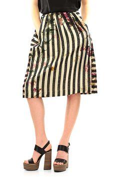 TWIN-SET SIMONA BARBIERI - Gonne - Abbigliamento - Gonna in cotone e viscosa con stampa a fantasia a vita alta. Tasche laterali e zip sul retro. - UNICO - € 161.00