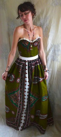 Uni Bustier Formal Gown or Wedding Dress tribal african ethnic alternative boho hippie gypsy indie free people cotton colorful eco friendly by Jada Dreaming on Etsy $350