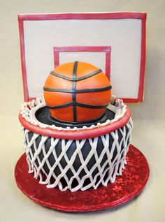 Sculpted Basketball & Hoop | Two tiered, fondant sculpted basketball and hoop.