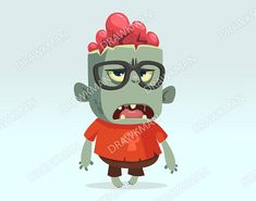 Items similar to Cartoon monster zombie scientist wearing funny eyeglasses. Halloween character on Etsy Cartoon Monsters, Cartoon Characters, Fictional Characters, Cute Zombie, Minnie Mouse, Cartoons, Illustration, Funny, Halloween Stuff