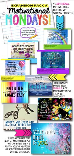monday motivation classroom Motivational Monday bell ringer writing prompts and classroom decor - expansion pack Monday Motivation Quotes, Motivational Monday, Monday Quotes, Teaching Themes, Teaching Activities, Teaching Resources, Classroom Resources, Middle School Reading, Middle School English