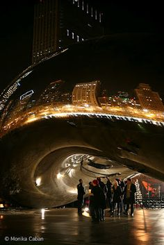 The Bean at night in Chicago.   Walking through this area at night is just as interesting as sightseeing during the day.