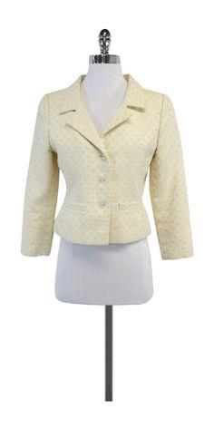 Oscar de la Renta White & Yellow Polka Dot Jacket
