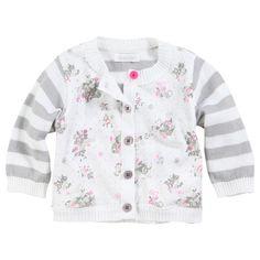 Absorba Striped and flower-printed cardigan Grey - 28635   Melijoe.com