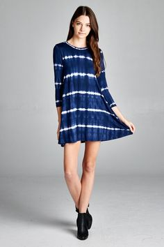 Navy Tie Dye Striped Shift Dress - Sm to Lg - $38 Thurs-Sat Specials  * Super Mystery Discount Drawing! From 20 to 50% off  (excluding name brands) * 50% off SALE! GRETCHEN SCOTT & JUDE CONNALLY ALL STYLES 50% OFF * Shoes, Scarves, Leggings Table and MORE