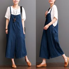 Blue Cotton Linen Overalls Summer Trousers