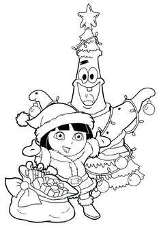 Coloriage Noel dora Christmas coloring page