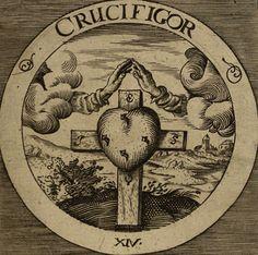 The Rosicrucian Emblems of Daniel Cramer. I Live, I Am Healed, I Am Endangered, I Am Crucified, I Meditate, I Am Redeemed, I Become Sweet, I Am Nothing, I Outweigh, I Build Myself Up (top to bottom)....