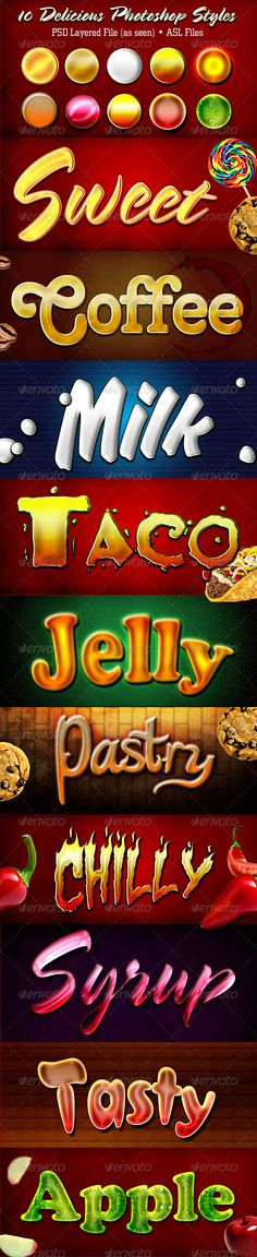 Delicious Photoshop Styles #GraphicRiver Delicious Photoshop Styles This pack consist of 10 Photoshop Styles: Sweet Coffee Milk Taco Jelly Pastry Chilly Syrup Tasty Apple The Download File Includes Spring- .ufonts /fonts/spring-lp.html Tango BT – .ufonts /fonts/tango-bt.html OkayD – .fontpalace /font-download/OkayD/ Taco Salad .dafont /taco-salad.font Katy Berry – .dafont /katy-berry.font Char BB – .dafont /search.php?psize=m&q=char+bb CroissantD – .urbanfonts /fonts/Croissant.htm ASL File…