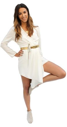 DC Romper Cream – Sin Clarity Clothing. White boho chic.  Hi-lo jumper long sleeve v-neck