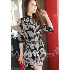 $9.83 Casual Style Mandarin Collar Button Floral Print Long Sleeve Dress For Women