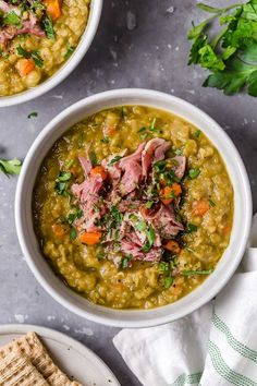When I want Split Pea Soup, this is the recipe I crave! Made with ham hocks or leftover ham, this is so delicious and freezes well if you want to make freezer meals. Deer Steak Recipes, Moist Meatloaf Recipes, Ham Bone Recipes, Baked Chicken Recipes, Recipe Chicken, Pea Soup Recipe With Ham Bone, Ham Bone Soup, Pea And Ham Soup, Easter Dinner Recipes
