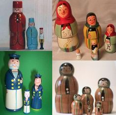 These dolls from Poland have a more complex shape than the traditional Russian dolls.  Our Design Guru, Laura Boes, remembers fondly playing with her Polish grandmother's set, which looked very similar to the set on the top right.