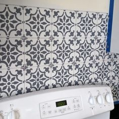 Learn How To Stencil A Faux Tile Kitchen Backsplash Using The Fabiola From Cutting