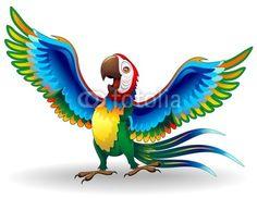 SOLD! #Happy #Macaw #Parrot #Cartoon :) #vector #illustration by #Bluedarkart on #Fotolia  https://it.fotolia.com/id/31938598