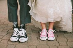 Groom / groomsmen with black converse, bride and bridesmaids with coloured - maybe add bling to brides or date to both groom and bride??