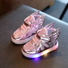 Free Gift 2017 New Girls Luminous LED Light Shoes Angel Wings Baby Boys Casual Led Shoes Children Sneakers size - Kid Shop Global - Kids & Baby Shop Online - baby & kids clothing, toys for baby & kid Baby Sneakers, Girls Sneakers, Casual Sneakers, Girls Shoes, Shoes Sneakers, Casual Shoes, Light Up Shoes, Lit Shoes, Zapatillas Casual