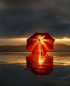 Beach umbrella... in the sunset