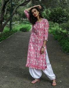 Candy Pink Frilled Kurta with Salwar - Floral Print Pink Kurta with white Salwar Set. Source by dvibgyor Printed Kurti Designs, Simple Kurti Designs, Kurta Designs Women, Salwar Designs, Kurti Designs Party Wear, Blouse Designs, Churidar Neck Designs, Casual Indian Fashion, Indian Designer Suits