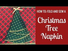 How To: Fold a Christmas Tree Napkin. How To: Fold a Christmas Tree Napkin In this tutorial, Margaret will show you how to measure, cut and overlock [serge] a round Christmas napkin and then fold it into a neat trimmed Christmas Tree for your table Christmas Tree Napkin Fold, Christmas Napkins, Christmas Tree Design, Easy Christmas Crafts, Christmas Sewing, Holiday Tree, Xmas Tree, Simple Christmas, All Things Christmas