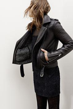 Leather jacket KICELUI Dress KENDRA Leggings GOJI www.maje.com