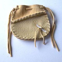 NEW ITEM...Beautiful Deerskin Leather Medicine Bag .. 2 Tone..Cream on Etsy, $12.00