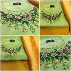 Whatsapp 9043230015 to Customize Hand Embroiderd, Bridal Wear and Party wear dresses. Hand Embroidery Dress, Embroidery On Kurtis, Kurti Embroidery Design, Embroidery Neck Designs, Embroidery Works, Hand Embroidery Patterns, Beaded Embroidery, Embroidery Stitches, Churidar Neck Designs