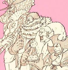 Law adds to the confusion One Piece Fanart, One Piece Manga, Manga Anime, Anime Art, Big Mom Pirates, Anime Lineart, 0ne Piece, One Piece Luffy, Roronoa Zoro