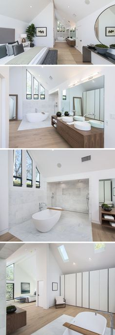 This modern master bedroom has a vaulted ceiling with an open bathroom. A white freestanding bathtub sits next to the dual shower, which is surrounded by tile. On the opposite wall to the shower is a wall of closets. #MasterBedroom #BedroomSuite #Bedroom #Bathroom #bathroombathtubmodern #tilebathtub #whitebathrooms #masterbathrooms #modernbathrooms