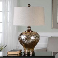 Liro Bronze Finish Mercury Glass Round Table Lamp, Multicolor