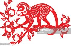 Traditional papercut art of Year of the Monkey for Chinese New Year.