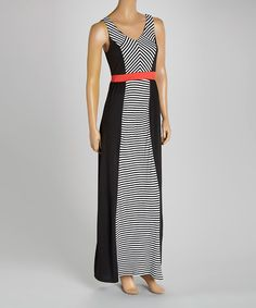 Take a look at the Soul Harmony Energy Black & Coral Stripe Panel Maxi Dress on #zulily today!