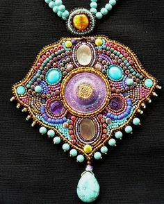 Czech Button Pendant Necklace  by Faria Siddiqui. Exquisite tribal-like #artistexhibitmaterial