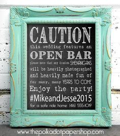 Caution: Open Bar! Funny DIY Wedding/Party Sign, Hashtag Sign, Chalkboard Print, No Drinking and Driving