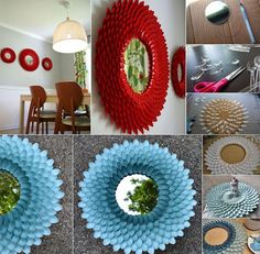 Fabulous Flower Mirror From Plastic Spoons | Interior Design inspirations and articles