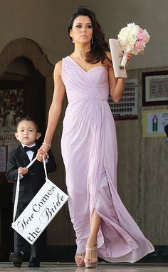Eva Longoria looked stunning as a bridesmaid at the wedding of a friend on June 14